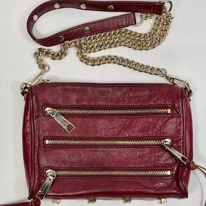 Sale!Rebecca Minkoff Mini 5 Zip Burgundy Crossbody